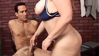 Busty oriental hotty stroking mature guy cock - 5:40