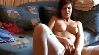 Slut in white stockings dildoing pussy actively on cam - 8:00