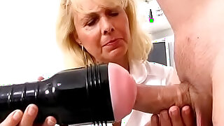 Blonde lady doctor Koko old with young CFNM exam and handjob - 6:00