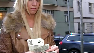 Hot blonde gets her pussy fucked doggystyle for cash and she receives a creampie - 6:00